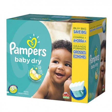 340 Couches Pampers Baby Dry taille 3+ sur Sos Couches