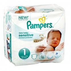 23 Couches de Pampers New Baby Sensitive de taille 1 sur Sos Couches