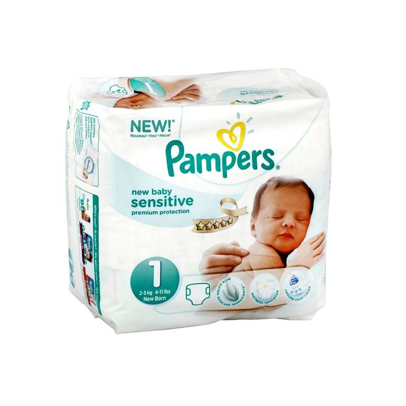 Achat 23 couches pampers new baby sensitive taille 1 - Prix couches pampers new baby taille 1 ...