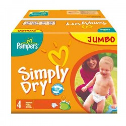 276 Couches de la marque Pampers Simply Dry taille 4 sur Sos Couches