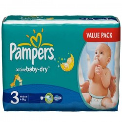 192 Couches Pampers Active Baby de taille 3 sur Sos Couches