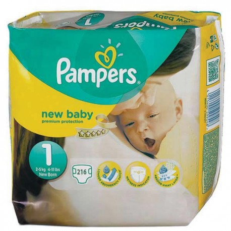 Achat 216 couches pampers new baby taille 1 en promotion - Prix couches pampers new baby taille 1 ...