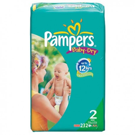 232 Couches Pampers Baby Dry taille 2 sur Sos Couches