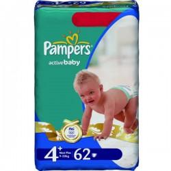 62 Couches de Pampers Active Baby de taille 4+ sur Sos Couches