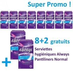 300 Serviettes hygiéniques Always Pantiliners - 10 Packs de 30 Serviettes hygiéniques taille Normal