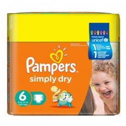 124 Couches Pampers Simply Dry de taille 6 sur Sos Couches