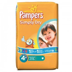 44 Couches Pampers Simply Dry de taille 4+ sur Sos Couches