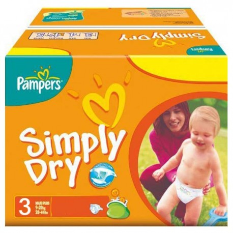 280 Couches Pampers Simply Dry taille 3 sur Sos Couches