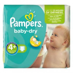 56 Couches de Pampers Baby Dry de taille 4+ sur Sos Couches