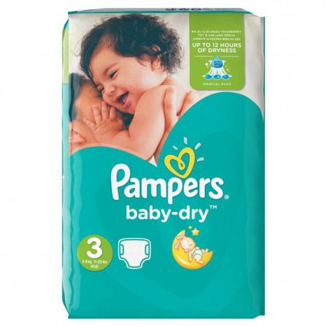 70 Couches Pampers Baby Dry taille 3 sur Sos Couches