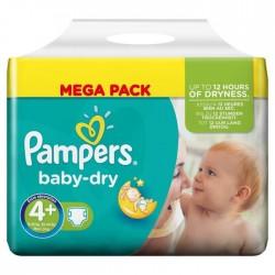 42 Couches de la marque Pampers Baby Dry de taille 4+ sur Sos Couches