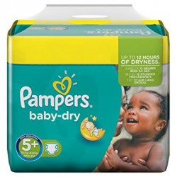 43 Couches Pampers Baby Dry de taille 5+ sur Sos Couches