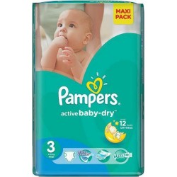 132 Couches Pampers de la gamme Active Baby Dry taille 3 sur Sos Couches