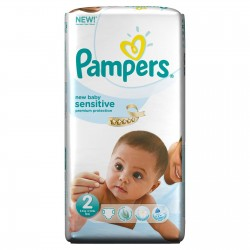 60 Couches Pampers de la gamme New Baby Sensitive taille 2 sur Sos Couches