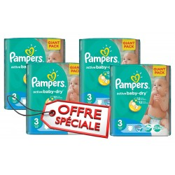 660 Couches Pampers Active Baby Dry de taille 3 sur Sos Couches