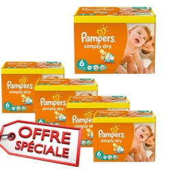 744 Couches Pampers Simply Dry de taille 6 sur Sos Couches