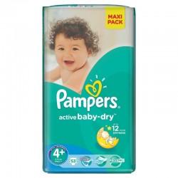 53 Couches Pampers de la gamme Active Baby Dry de taille 4+ sur Sos Couches