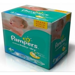 265 Couches Pampers de la gamme Active Baby Dry taille 4+ sur Sos Couches