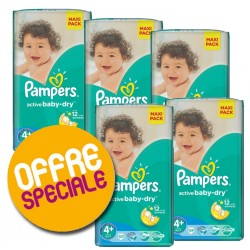 371 Couches Pampers Active Baby Dry taille 4+ sur Sos Couches