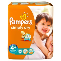34 Couches Pampers de la gamme Simply Dry taille 4+ sur Sos Couches
