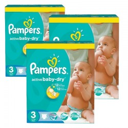 296 Couches Pampers Active Baby Dry 3