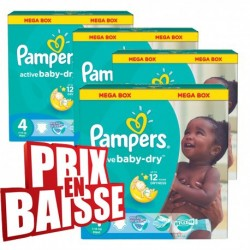 348 Couches Pampers Active Baby Dry taille 4