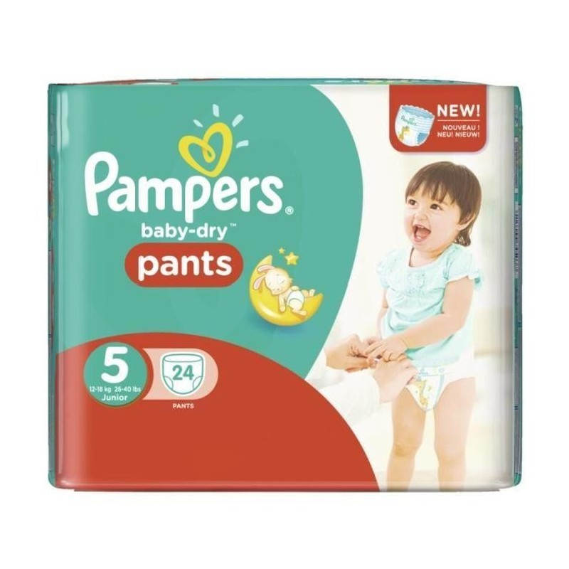 Achat 24 couches pampers baby dry pants taille 5 petit - Prix couches pampers new baby taille 1 ...