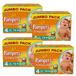 294 Couches Pampers Simply Dry 4