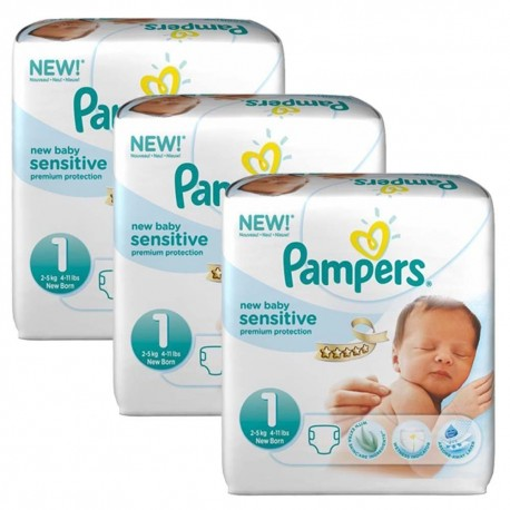 Achat 168 Couches Pampers New Baby Sensitive Taille 1 Moins Cher Sur