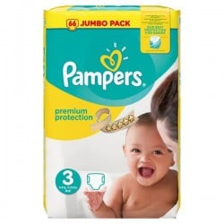 50 Couches Pampers Premium Protection taille 3