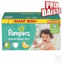 308 Couches Pampers Active Baby Dry taille 4 sur Sos Couches