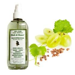 Huile de beauté aux pépins de raisin 100% végétale et pure