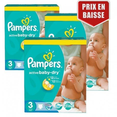 246 Couches Pampers Active Baby Dry taille 3 sur Sos Couches
