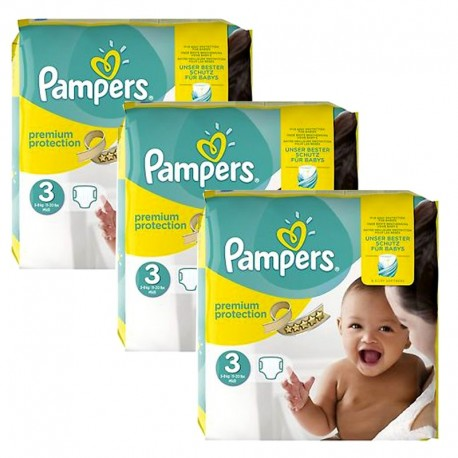 240 Couches Pampers Premium Protection - New Baby taille 3 sur Sos Couches