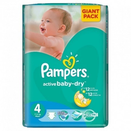 90 Couches Pampers Active Baby Dry taille 4 sur Sos Couches