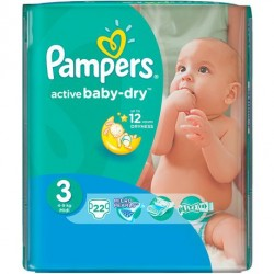 22 Couches Pampers Active Baby Dry taille 3