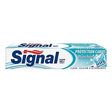 Dentifrice Signal Protection Caries Blancheur sur Sos Couches
