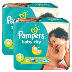 170 Couches Pampers Baby Dry taille 3