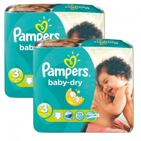 102 Couches Pampers Baby Dry taille 3 sur Sos Couches