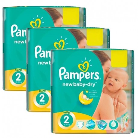 129 Couches Pampers New Baby Dry taille 2 sur Sos Couches