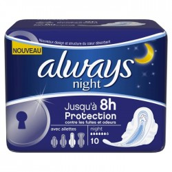 10 Serviettes hygiéniques Always Ultra taille Night