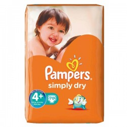 70 Couches Pampers de la gamme Simply Dry taille 4+ sur Sos Couches